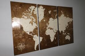 World Map Wood Wall Art by Vintage World Map Screen Print Wood Painting Wall Art On Stained