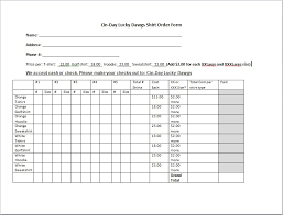 Fundraiser Order Form Template Excel T Shirt Order Form Template Cyberuse