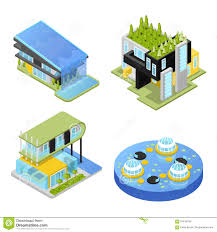 futuristic private houses modern architecture isometric flat 3d