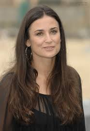 hairstyles for a square face over 40 demi moore long center parted hairstyle for a square face and a