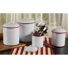 Red Kitchen Canisters Sets Kitchen Four Piece Canister Set In Tan For Kitchen Accessories Ideas