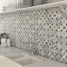 kitchen mosaic tiles ideas bologna blue pattern mosaic tiles used as a splashback tile in