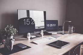 minimalist home office workspace desk setup free image download