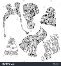 set winter sketches warm clothes scarf stock vector 537498721