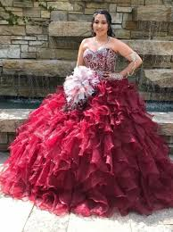 burgundy quince dresses gown sweetheart tiered burgundy organza beaded quinceanera