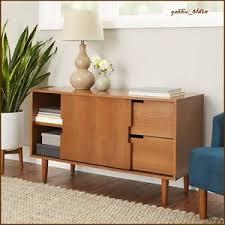 mid century modern wood warm pecan finish credenza bar sideboard