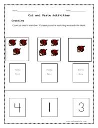 count pictures in each box cut and paste the matching number in