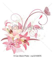 pink lillies bouquet of pink lilies vectors illustration search clipart