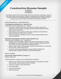 construction resume exles construction labor resume sle resume companion