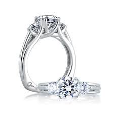 a jaffe three stone signature trellis engagement ring classics