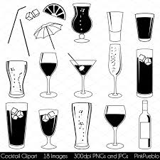black and white champagne bottle clipart cocktail vectors illustrations creative market