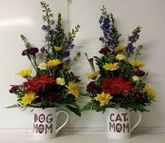 dog mom and cat mom fresh flower arrangement in mug choose one in