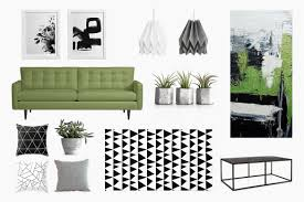 an urban living room black white u0026 green belivindesign