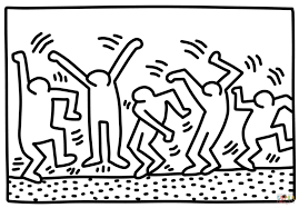 dancing figures by keith haring coloring page free printable