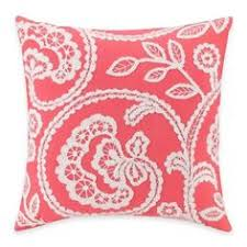 Bed Bath And Beyond Ft Myers Coastal Coral Square Embroidered Throw Pillow In Aqua