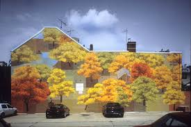 mural 32 jpg description autumn shows a view of a forest in the fall according to the guinn it is an imaginary forest that people passing the mural can enter in their