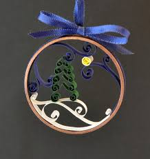 christmas ornament winter tree quilled paper in copper ring by
