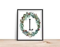 Letter L Home Decor by Monogram L Wreath Etsy