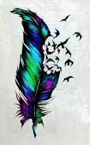 attractive colorful feather with flying birds tattoo design