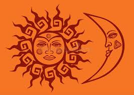 icon of tribal sun and crescent moon stock vector illustration