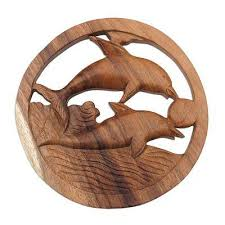 eclectic dolphin ring holder images Hand carved suar wood dolphin relief panel from bali fun with jpg