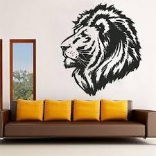 Lion Decor Home Wall Sticker Animal Style Black Lion Head Decal Sticker Mural Art