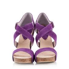 Wedding Shoes Cork Logan Velour Viola High Wedge Cork Outsole Criss Cross Sandals