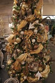 tree with burlap garland in white gold silver and