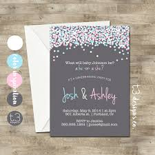 sip and shop invitation gender reveal invitation confetti gender reveal party