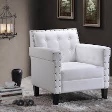 Upholstered Accent Chair Baxton Studio Odella Contemporary White Faux Leather Upholstered