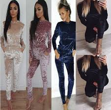 s one jumpsuit velvet tracksuits jumpsuit sleeve one sweat