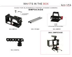 Dimension Bloc Porte by Blackmagic Pocket Cage Rod Bloc 15mm Light Weight Blackmagic