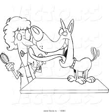 vector of a cartoon dog licking his groomer outlined coloring