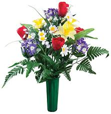 Artificial Lilies In Vase Amazon Com Miles Kimball Memorial Silk Flowers Home U0026 Kitchen
