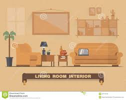 living room interior element flat design earth tone stock vector