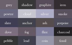 Shades Of Gray Names | the color thesaurus gray color gray and chart