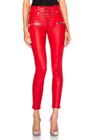 Real Leather Leggings Unravel U2013 Lace Front Leather Skinny Pants In Red Skinny Leather
