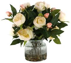 Fake Peonies D U0026w Silks Cream Peonies In Ribbed Glass Vase Traditional