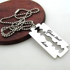 custom engraved necklace pendants mens necklace personalized razor blade pendant mens gift