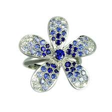 flower rings jewelry images Blue sapphire and diamond flower ring 18k white gold rings jpg