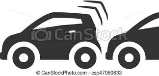 wrecked car clipart bw icons car crash car crash icon in single color vectors