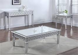 mirrored end table set cm4457 granard coffee table set