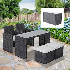 Patio Chair And Ottoman Set 5pc Patio Furniture Section Rattan Wicker Sofa Set Dining Table