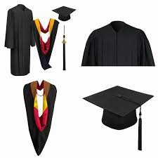 black cap and gown customized graduation gown disposable and black cap and gown