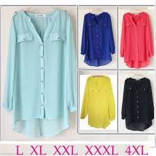 chiffon blouses for plus size xxxl 4xl chiffon blouses shirts pockets rivet