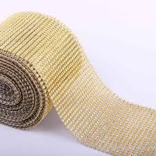 ribbon trim gold 30 24 rows diamond mesh wrap roll rhinestone