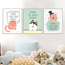 wall ideas motivational wall art motivational framed wall art modern kawaii motivational quotes animal a4 art print poster cat wall picture cute kids baby room decor canvas painting no frame inspirational quotes wall