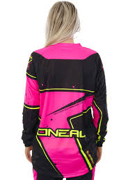 womens motocross gear canada oneal black pink yellow 2017 element womens mx jersey oneal