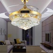 2017 modern crystal invisible ceiling fan light kit for living