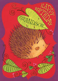 porcupine with gold foil highlights grandson birthday card by